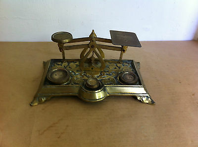 NICE OLD DECORATIVE BRASS LETTER SCALES & WEIGHTS 8.5 by 5.2 inches