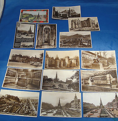 Collection of 15 Vintage Postcards all Featuring Edinburgh