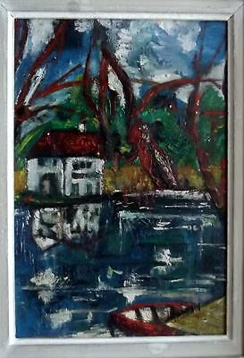 Shabby Chic FRENCH ABSTRACT LANDSCAPE Impasto Oil Painting Indistinctly Signed
