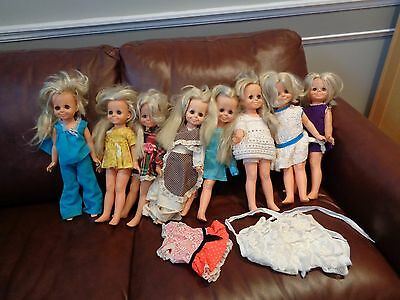 collection 8 VELVET IDEAL VINTAGE DOLLS GROWING HAIR CRISSY SISTER clothes cute