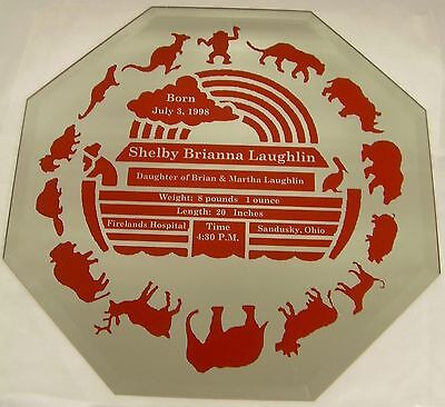 Noah's Ark Birth Announcement Octagon Mirror
