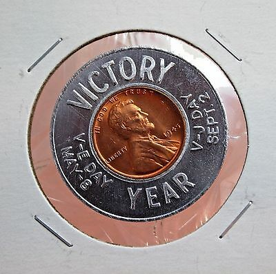 Victory Year V-E Day / V-J Day 1945-P (Uncirculated) Encased Wheat Cent...#12757