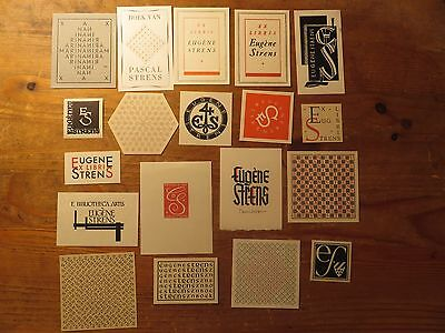 1930s-1950s Eugene Stren Vintage Ex Libris Job Lot ,19 pieces