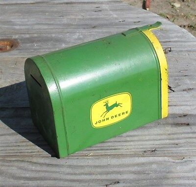 Mini John Deere Tractor Mailbox Childs Toy Vintage Advertising David Coin Bank