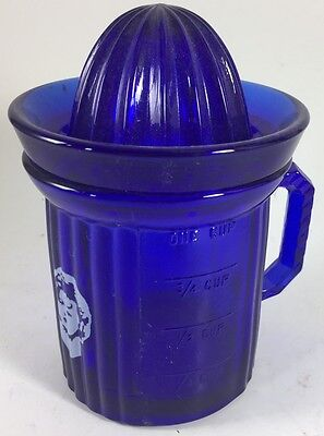 Measuring Cup w/ Reamer w/ Shirley Temple - Cobalt Blue Glass - USA