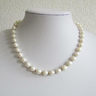 Freshwater Pearl Necklace With Silver Bead Between Pearls with 925 Silver Clasp