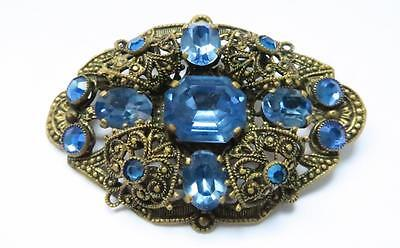 Vintage Edwardian Filigree Brooch Pin Blue Foil Backed Glass Stones