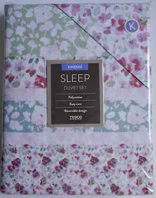 Lovely Tesco Easy Care Reversible King Size Duvet Cover Set (Pink Pansies) *new*