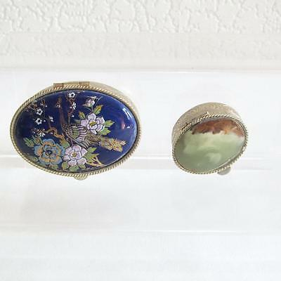 Two Vintage Trinket/Pill Boxes - Agate Lid & Oriental Design Lid