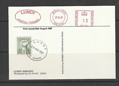 Lundy island PPC 1987, Lundy harvest, with 17 Puffin stamp
