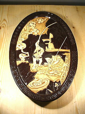 Bretby Art Nouveau Japanese Style Oval Wall Hanging 1510