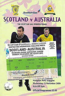 Football Programme plus Match Ticket>SCOTLAND v AUSTRALIA Nov 2000 @Hampden Park