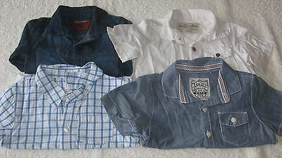 6-9 months 4x SHIRT BUNDLE All 100% Next Top Baby Boys Checked Check White Denim