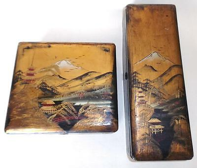 2 Antique Japanese Mount Fuji design Laquered wooden Boxes - black and gold