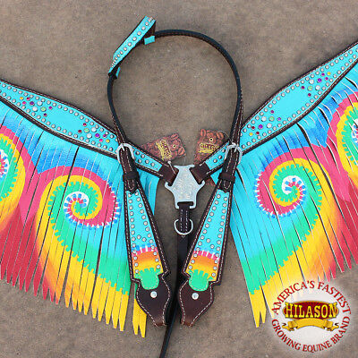 C- Hilason Western Leather Horse Headstall Breast Collar Brown Turquoise Fringes