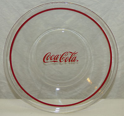 """Vintage 8"""" Coca Cola Clear Glass Plate w/ Red Band Banded Rim Coke"""