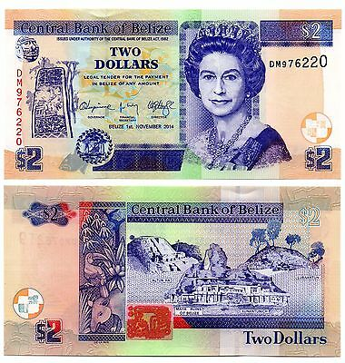 BELIZE   -   great  UNC  note   2  dollars  #2014    -   LAST ONE !!