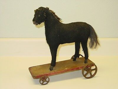Antique Mohair Horse On Wooden Base With Metal Wheels Child's Pull Toy