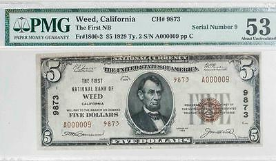 1929 $5 PMG AU53 NET Weed, California Nat. Bank Note Fr#1800-2 Ch#9873 It.#T5841