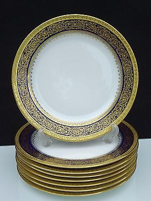 "8 Antique Tressemanes & Vogt 9 5/8"" Cobalt And Encrusted Gold Dinner Plates"