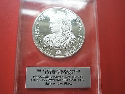 Bsc .999 Silver Proof Medal Queen Victoria (Number 9)