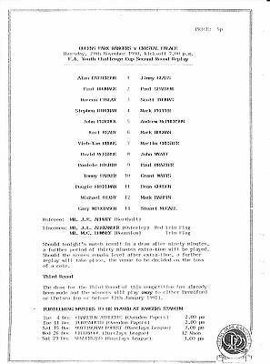 Queen's Park Rangers v Crystal Palace FA Youth Cup Replay 1990/91 single sheet