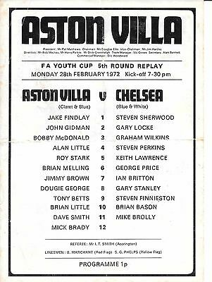 Aston Villa v Chelsea FA Youth Cup 5th Round Replay 1971/72 - single sheet