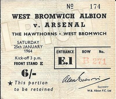 Ticket West Bromwich Albion v Arsenal FA Cup 4th Round 1963/64