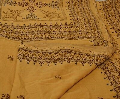 Sanskriti Vintage Indian Saree 100% Pure Cotton Hand Embroidered Craft Fabric