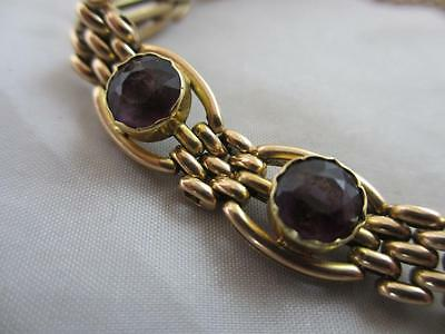 Amethyst 15k 15ct gold bracelet antique Edwardian c1910. tbj02348