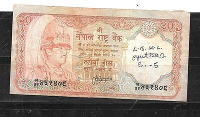 NEPAL 32a 1987 VG  USED 20 RUPEES OLD BANKNOTE PAPER MONEY CURRENCY BILL NOTE
