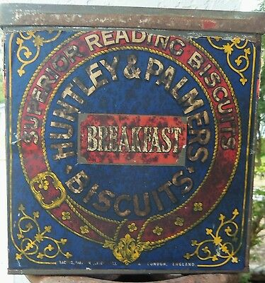 Huntley and Palmers Biscuits advertising primitive England Tin Antique large