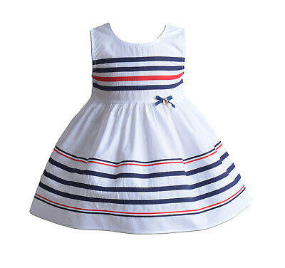 Girls Sleeveless Striped Summer Party Dress Red White 3 4 5 6 7 Years