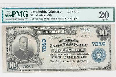 1902 $10 PMG VF20 Fort Smith, Arkansas National Bank Note CH#7240 It.#T5889