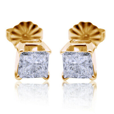 Pair of 14k Solid Yellow Gold / Diamonds Ladies Earrings * 1 CT TWT * BEAUTIFUL