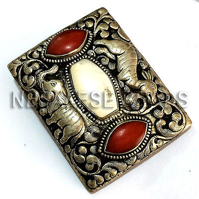 BKS08 Tibetan Nepal Handmade Elephant Carvin and Coral Conch Shell  Belt Buckle