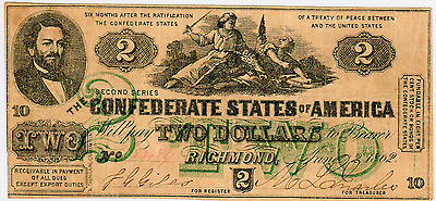 1862 $2 Confederate States Of America Cs-43 - Issues But Green Ink Version (1)