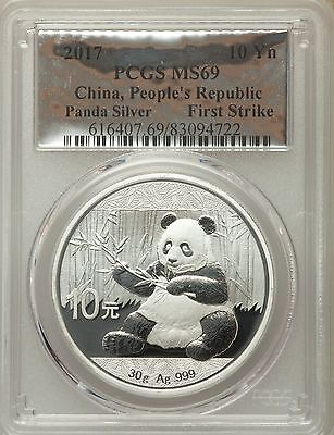 2017 Silver Foil Label First Strike China Panda 10 Yn 30g .999 Silver PCGS MS 69