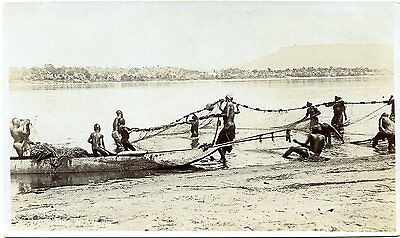 Northern Nigeria - River Fishing - Old Real Photo Postcard