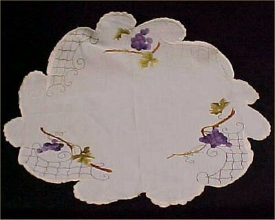 """Vintage Antique Royal Society Doily Silk Embroidered Tablecloth Grapes 24"""" c1880"""