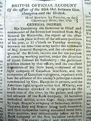 <1813 WAR OF 1812 Newspaper BATTLE o CHATEAUGUAY Quebec CANADA Montreal Campaign
