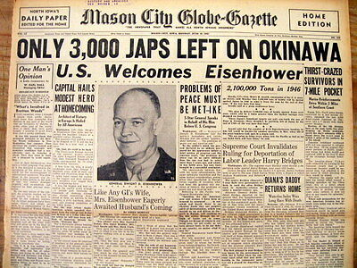 <1945 headline newspaper BATTLE OF OKINAWA Nearly Over US DEFEATS JAPANESE ARMY