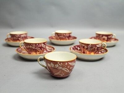 Antique Early 19c Exceptional Set 6 English Pink Luster Cups + Saucers