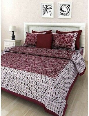 Floral Print Cotton Double Bedsheet With 2 Pillow Cover King Size Home Decor