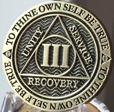 3 Year AA Medallion Reflex Antique Chocolate Bronze Sobriety Chip Coin