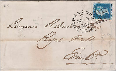 1857 QV GREENOCK EXPERIMENTAL PMK ENTIRE WITH FINE SG34 2d PENNY BLUE STAMP £200