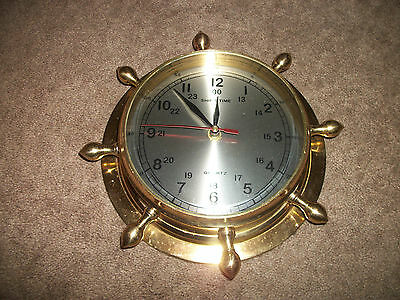 SHIPS TIME brass ships wheel wall mount clock  boat nautical quartz