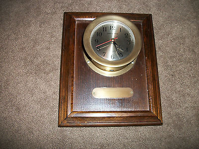 SHIPS TIME brass  wall mount clock  boat nautical quartz