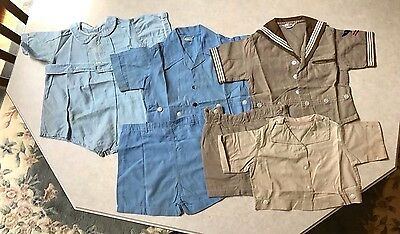 Set of 3 Vintage 1940's Baby / Toddler Boy Clothes 3 Outfits, 6 Pieces