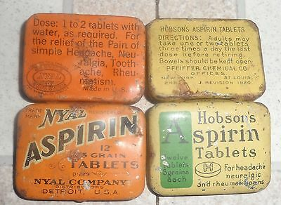 Nyal & Hobson's Aspirin Advertising Tin Lot Empty Fair Shape